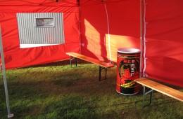 teltta, puupenkki, cooler